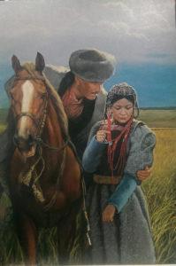 Джигит на коне и девушка